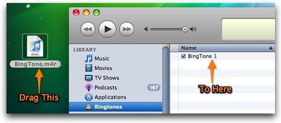 Ahora, mueva el archivo .m4r que está en el escritorio a la carpeta Tonos en iTunes.