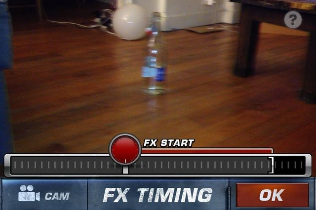 Este efecto es con misiles así que cuando rodaje Negué con el teléfono después de un par de segundos para enfatizar el efecto. En esta pantalla, seleccione si desea que el efecto de golpear a continuación, puntee en ok
