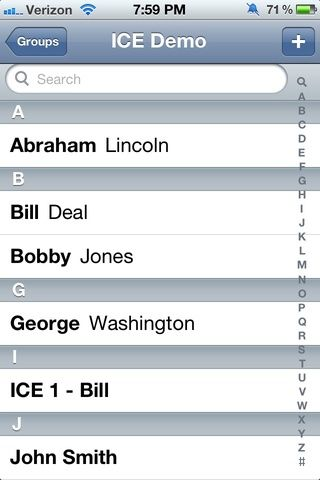 Esto es lo que el personal de respuesta de emergencia verán cuando abran sus contactos en su iPhone para encontrar el ICE (En Caso de Emergencia) de contacto.