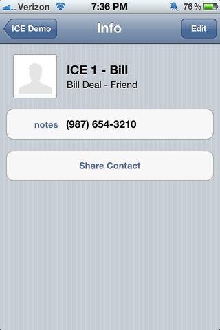 Su nuevo contacto ICE será similar a esto. También puede añadir una dirección u otra información de contacto pertinente. Simplemente haga clic en'Edit' here and add information accordingly.