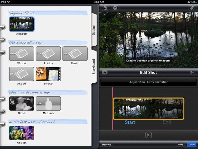 Para eliminar o editar un marco, seleccione la imagen y observe el tiro Editar. Puede eliminar la foto o cambiar el arranque y parada puntos.