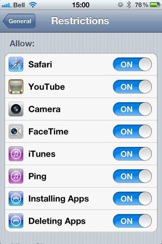 Por defecto, todos los programas están encendidos. Por deslizar el botón ON ese programa / facultad ya no estará disponible. Nota: Si los niños jueguen con su teléfono: apague'Deleting Apps' saves some heartache.