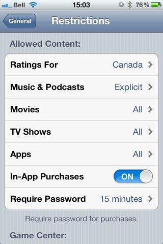 Los ajustes predeterminados para la cuenta de iTunes.