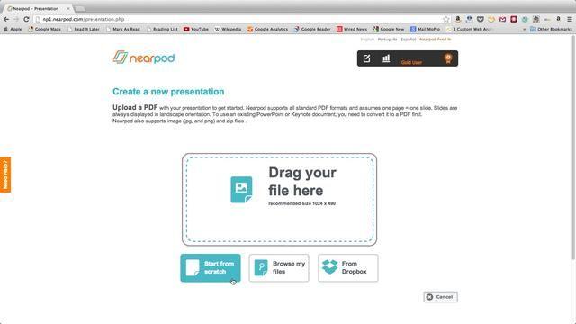 Para crear un Nearpod Presentación, puede iniciar ya sea desde cero o subir una, ZIP o archivo de imagen PDF desde su computadora o en su cuenta de Dropbox.