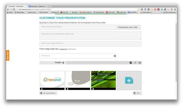 Guarde el tobogán y una vez que la presentación está lista, toque en'Done'. Remember to publish the presentation!
