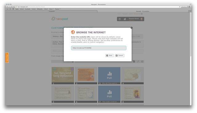 Volver a la Herramienta de contenido, pegue el vínculo en el cuadro de dirección URL de la función interactiva y haga clic en Guardar.