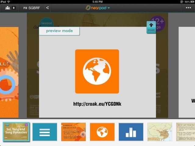 Abre la aplicación Nearpod e ingrese como profesor. Seleccione la central nuclear que va a utilizar para la lección. Con el botón Compartir, puede enviar la grabación de voz a sus estudiantes.