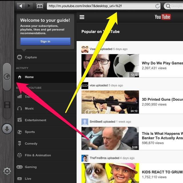 Mover cursor a la izquierda hacia arriba para acceder a la web. Escriba youtube.com en la barra de direcciones.