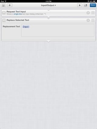 Ahora agregue una acción de texto Reemplazar seleccionada (recuerda que esto da salida a algo que el editor). Por defecto, se dará salida a la