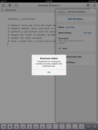 Esto añade un marcador justo encima de la ventana de texto para facilitar el acceso de los flujos de trabajo de uso frecuente.