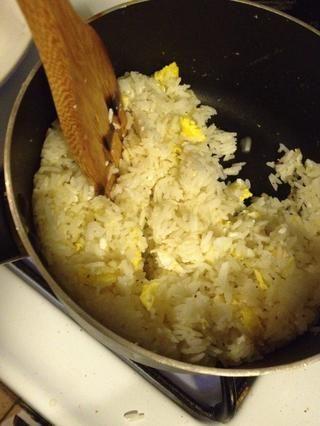 Mientras se cocina la salsa, calentar otra wok (o sartén). Agregue el huevo batido para freír el arroz. Pásate por y echar un vistazo a cómo freír el arroz delicioso. Sazone con sal y pimienta negro al gusto.