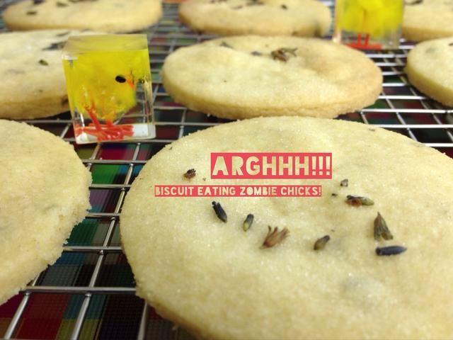 Con cuidado, coloque las galletas en una rejilla para enfriar y dejar hasta que esté completamente fría. Tenga cuidado con los polluelos de zombies galleta alimenticios.