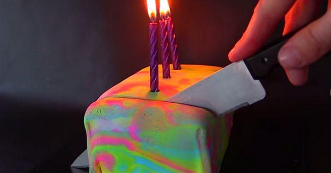 Cómo cocer al horno el pastel de Psicodélico Colorido-sorpresa-in-the-Middle ...