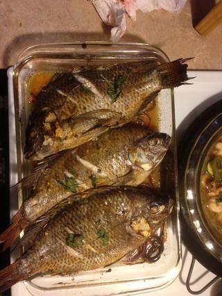 Agradable y fresco de tilapia. Al horno a 375 * de 35 minutos o hasta que el pescado es escamosa.