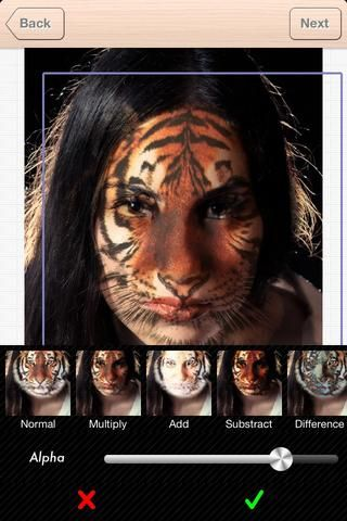 SELEC un modo de mezcla en función de su color de piel y el efecto que desea. estoy usando