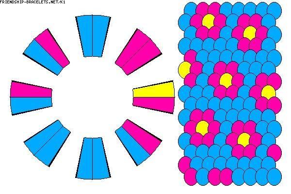 Este es un patrón de friendship-bracelets.net. Usted pone las cadenas en el orden en que se ve en la imagen, los puntos a la derecha representan el patrón.