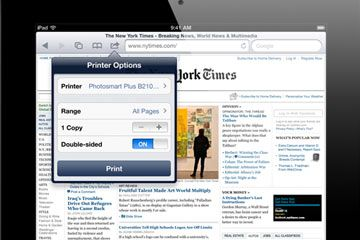iPad que muestra las opciones de impresión del navegador Safari