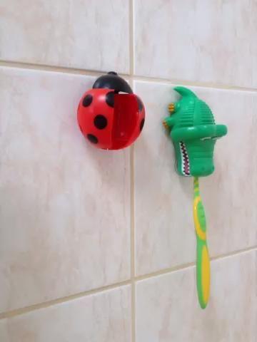 A continuación, poner el cepillo de dientes de distancia (Guardo la mía en un cepillo de dientes titular insecto de la señora).