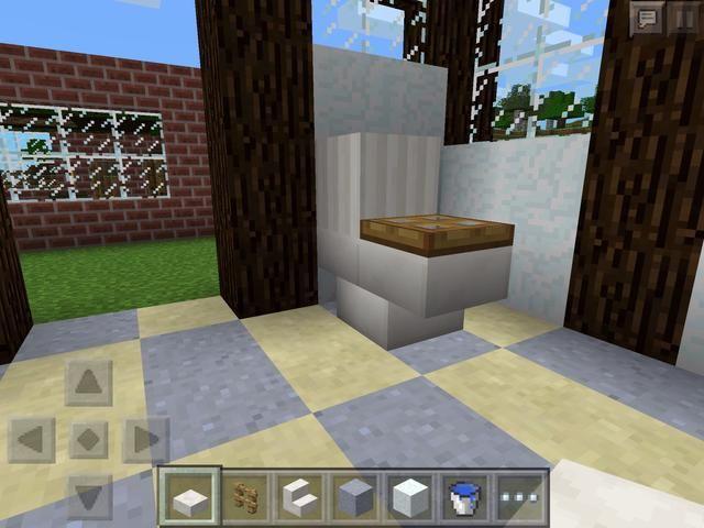 Una trampilla en el otro bloque de la escalera, y el baño es completo! Ello's quite big, but what isn't in Minecraft!