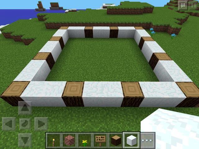 En primer lugar, crear las paredes exteriores del cuarto de baño. Elegí nieve y madera de abeto para mi tema!