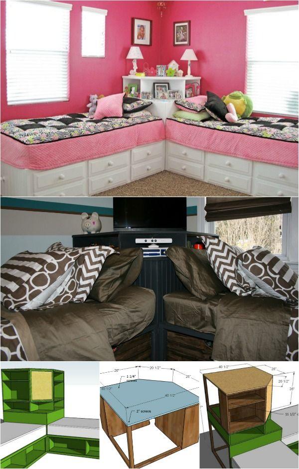 Cómo construir una unidad de esquina para camas individuales de almacenamiento (Planes gratis)