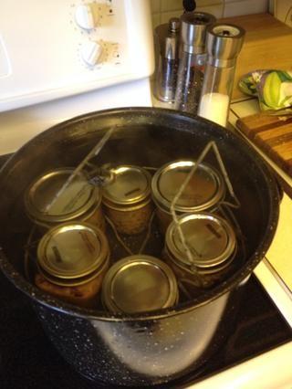 Ponga soporte metálico hacia abajo en olla. Utilice agua caldera (hervida) para llenar olla a 1