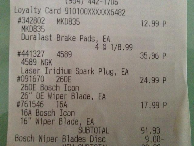 Pagado $ 12.99 para las pastillas de freno en una tienda de piezas con una garantía de por vida