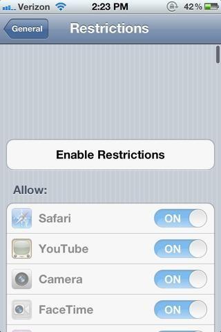 Toque Activar Restricciones.