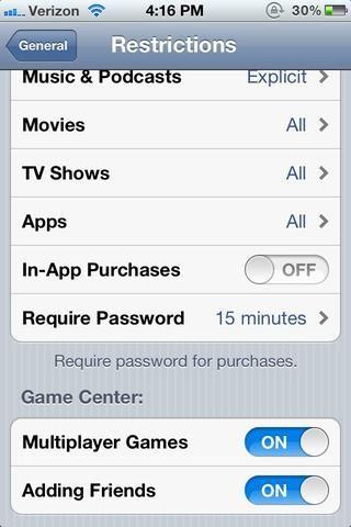 Deslice las compras in-app de palanca interruptor en off.