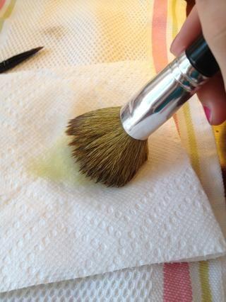Vierta una pequeña cantidad de aceite de oliva en su toalla de papel y frote suavemente el pincel alrededor.