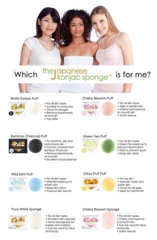 Haga clic en la imagen para ver que Konjac Esponja adecuado para tu piel's type!