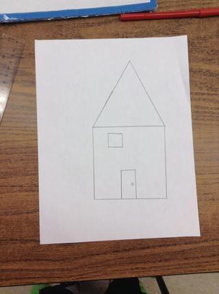 Etape 7.Dans le carré de 10 cm, contruit un petit carré de 2 cm dans le coin haut droit.
