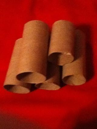 Si usted tiene un tubo de toalla de papel y luego cortarlo en trozos del tamaño del tubo de papel higiénico. La pequeña pieza es el extra porque yo corté la parte superior, que también se puede utilizar