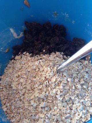 Añadir la harina de avena y pasas en la mezcla.