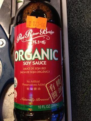 Salsa de soja orgánica en lugar de sal en mi caso