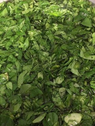 Aquí están los alholva hojas de corte y se lava a fondo para conseguir la suciedad y la amargura.