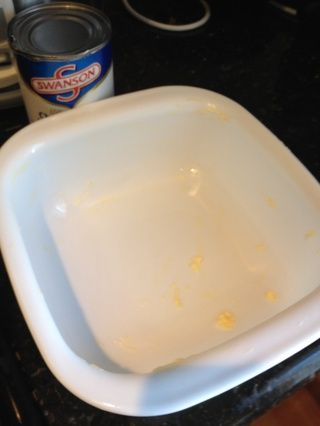 usted'll need a baking dish. I tend to use the same container that I'll use for serving. Spread butter around the interior of the dish.
