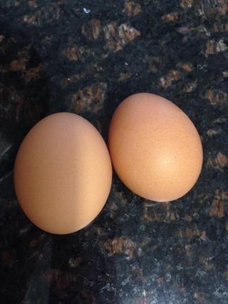 2 huevos, ligeramente batidos en el recipiente de mezcla húmeda ingrediente