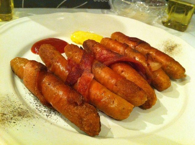 Cómo cocinar Envuelto-Bacon Receta Chipolatas