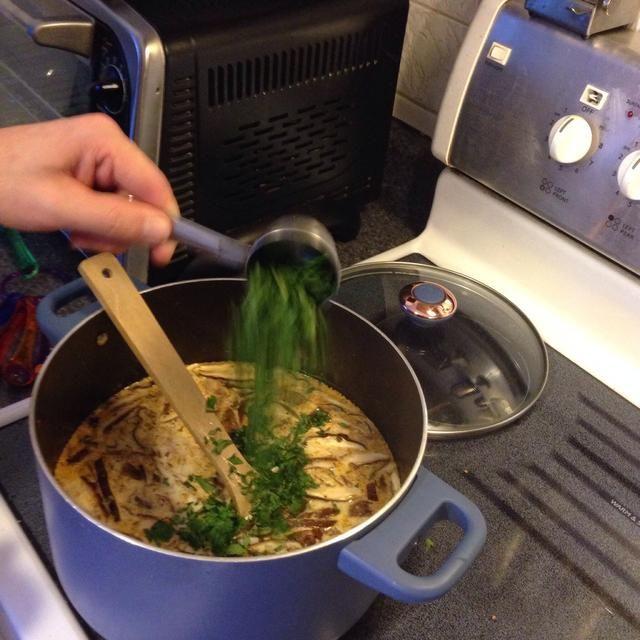 Retire la sopa del fuego y agregue el cilantro