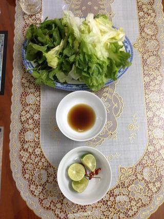 Mientras que estaba haciendo el caldo y todo, también lavar las hierbas, es decir. cebolleta, cilantro. Picar em up! Siéntase libre para preparar otras hierbas, ensalada .... Para un sabor vietnamita real No se olvide de la salsa de pescado!