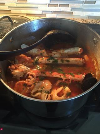 Cuando los mariscos se cocina quitar y servir!