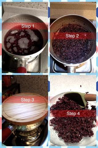 Preparar el arroz negro. Paso 1: Lavar el arroz por 3-4 veces. Póngase med-fuego lento y dejar hervir durante 25 minutos, revolviendo ocasionalmente. Paso 2 y 3: apagar el fuego, cubrir con la tapa durante 5 minutos. Paso 4: la transferencia a un tazón