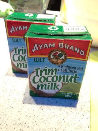 Yo uso UHT leche de coco / crema. Marcas de Malasia, Indonesia o Tailandia son todos buenos para ser utilizado.