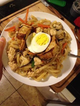 Siempre se puede añadir un poco de bola de masa frita o huevo, opcional.