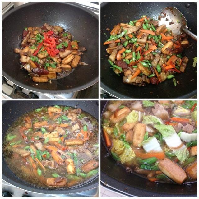 Agregue el perejil y pimiento rojo. A continuación, las zanahorias y las judías verdes. Añadir 6 tazas de agua y llevar a fuego lento. Añadir la col china y cocine a fuego lento durante otros 2 minutos.