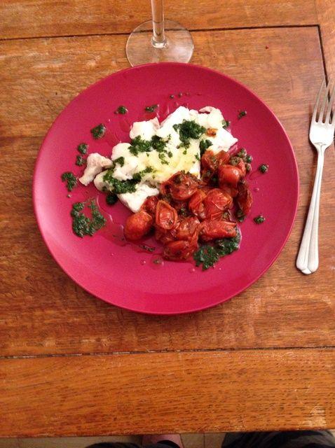Cómo cocinar al vapor Filete de Pescado Con Receta cereza Tomates Side
