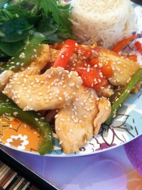 Cómo cocinar Salteado Sesame pollo y verduras Receta