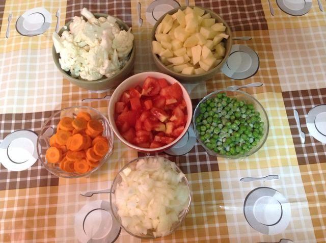 Cortar todas las verduras.