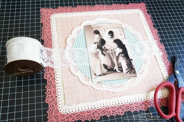yo'll be adding a few layers of this dainty lace trim under the photo...
